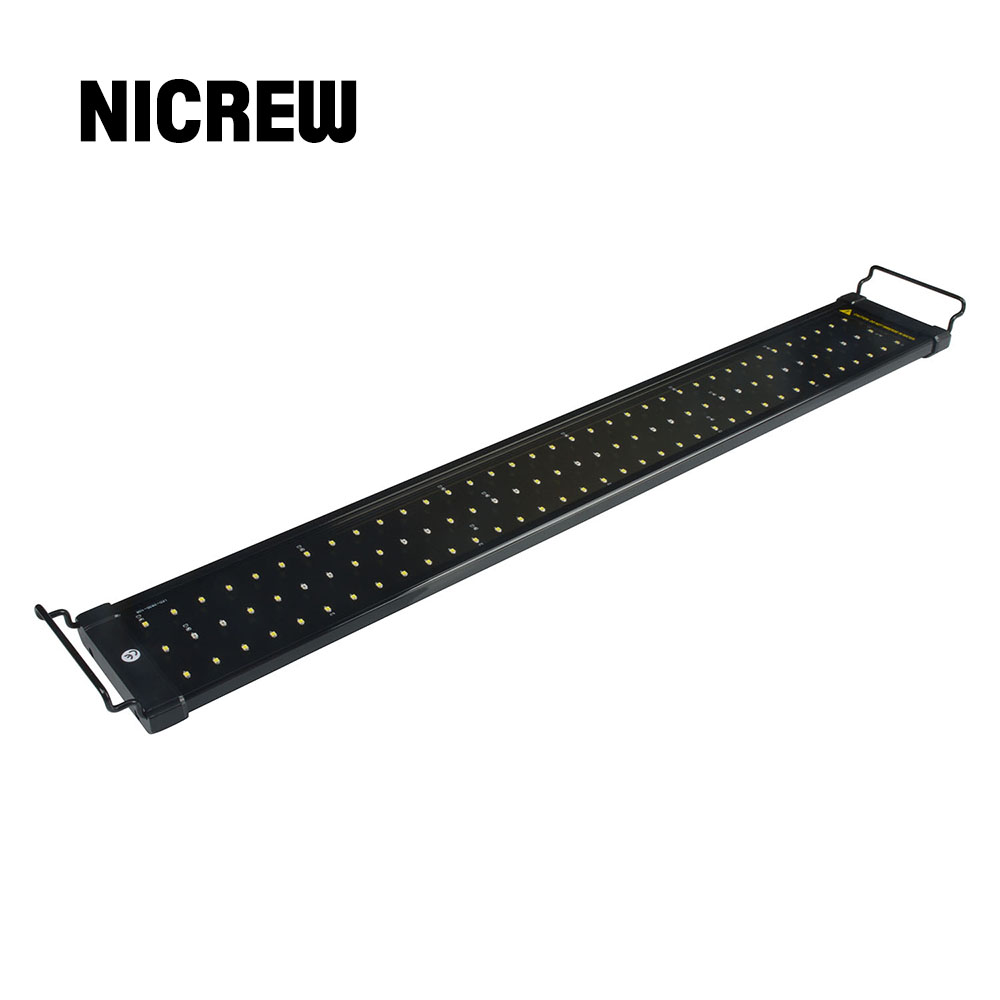 Nicrew 75-150cm Aquarium LED Lighting Fish Tank Light Lamp With Extendable Brackets 90 White And 18 Blue LEDs Fits For Aquarium