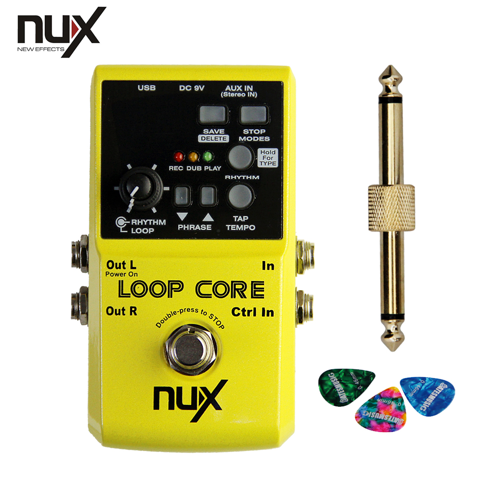 NUX Loop Core Violao Guitar  Effect Pedal Looper Pedals Recording Time Built-in Drum Patterns +1 pc pedal connector +3 picks nux loop core violao guitar effect pedal durable guitarra effect pedal 6hours recording time guitar accessories