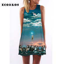 ECOBROS 2017 Woman Summer Dress casual sleeveless Loose sky stars print dresses plus size woman clothing dress free shipping