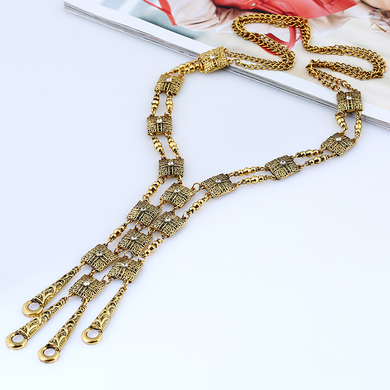 LZHLQ 2017 Fashion Bohemian Statement Maxi Long Necklace Collier Colar Vintage Collar Boho Necklace Women Fine Jewelry