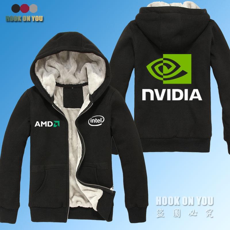 GPU Graphics Nvidia LOGO Print sweatshirts AMD intel Nvidia Winter Thicken Warm solid font b Hoodies