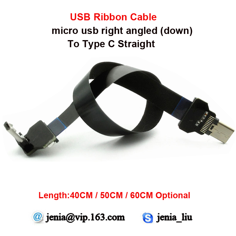 40CM/50CM/60CM Ultra Thin USB Flat ribbon cable Type C Straight to male Micro down angle line connector 40cm 50cm 60cm ultra thin usb flat ribbon cable type c straight to male micro down angle line connector