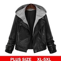 XL 5XL Plus Size Hoodie Leather Jacket Women Black PU Leather Hooded Jacket Front Pocket Slim
