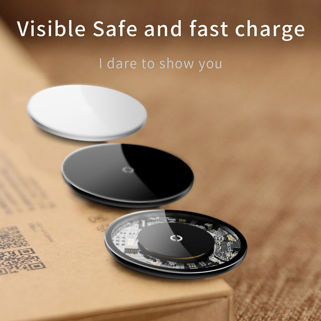 Baseus 10W Qi Wireless Charger For iPhone X Xs Max Glass Fast Wirless Wireless Charging Pad For Samsung S10 S9 Xiaomi Mi 9 MIX 3 5