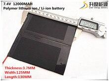 Bateria de Iões Polímero para Mp3 7.4 V 12000 Mah 37125130 Células Li-po de Lítio Recarregável Mp4 Mp5 Gps Psp Móvel Bluetooth