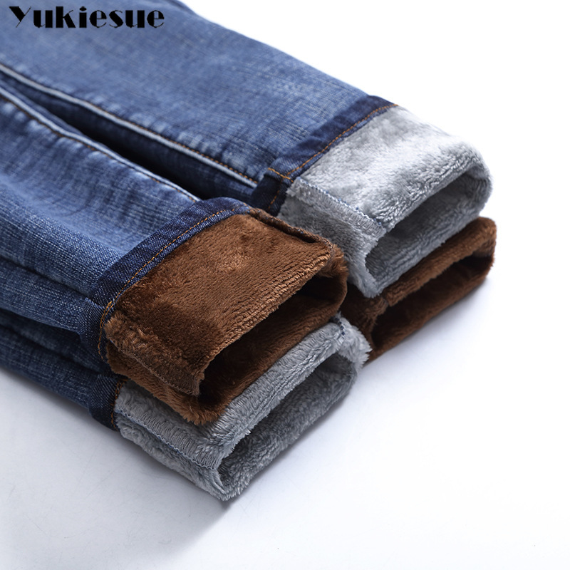 Winter Fleece Thick Push Up Plus Size Jean With High Waist Denim Pants Womens Female Boyfriend Jeans For Women Warm Jeans Woman