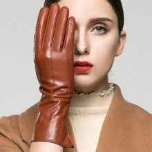 KLSS Brand Genuine Leather Women Gloves Autumn Winter Plus Velvet High Quality Elegant Goatskin Glove Lady Driving Glove 838
