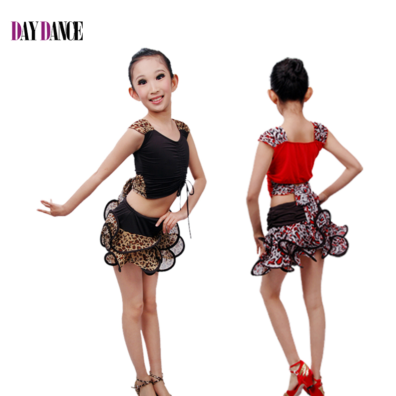 Sexy Girls Leopard Ballroom Latin Dance Costumes Cheap -1309