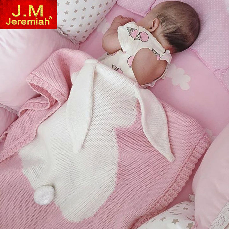 Baby Blanket Pink Gray Cute Rabbit Gray For Bed Sofa Wool blanket Kids Personalized Cotton Bedding Cover Play Mat Gift 73*105 new knitted blankets towels luxury hotels home sofa wool blanket europe leisure jacquard cotton blanket decorative bedding