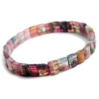 Оригинальные украшения браслет Природный красочный Турмалин Браслеты для Для женщин Femme стрейч кристалл прямоугольник браслет из бисера