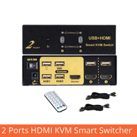 2 port HDMI KVM smart switcher 2 in 1 out remote control switch usb HD computer splitter computer keyboard mouse display sharing