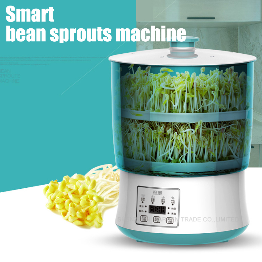 1PC perfect digital timer microcomputer intelligent double bean sprouts machine with Intelligent microcomputer 220V 20W bear three layers of bean sprouts machine intelligent bean sprout tooth machine dyj b03t1