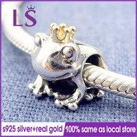 LS 100% 정통 925 스털링 실버 1.4 천개 솔리드 G. 오래된 개구리 왕자 매력 맞춤 원래 팔찌 Pulseira Encantos. 고급 보석 N