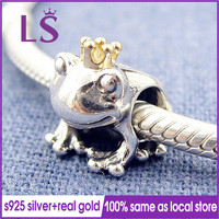 LS 100 Authentic S925 Silver 14 K Real Gold Frog Prince Charm Fit Original Bracelets Pulseira