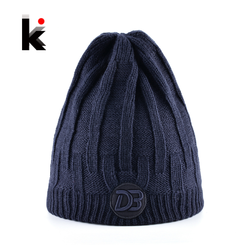 Winter Beanies Hat For Men Knitting Wool Skullies Caps Women Add Velvet Thicker Men's Knitted Bonnets Beanie Unisex Skis Gorros 2016 band beanies winter men knitted hat reversible beanie for new women unisex baggy warm skullies skull cap bonnets gorros