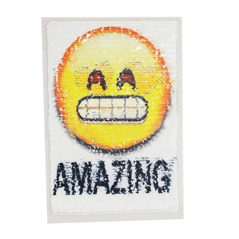Reversible change color sequins Patches for clothing T shirt Women 155mm AMAZING face logo flip the double sided T-shirt Patch