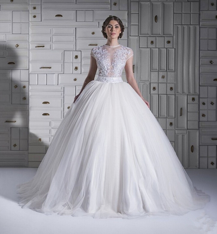 2015 Princess Style Wedding Dresses TopTransparent Ball Gowns Tulle ...