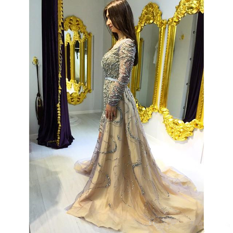 Charming Sheer Neck Shiny Crystals Prom Gown A-line Long Sleeves Evening Dresses For Wedding Party Custom Made
