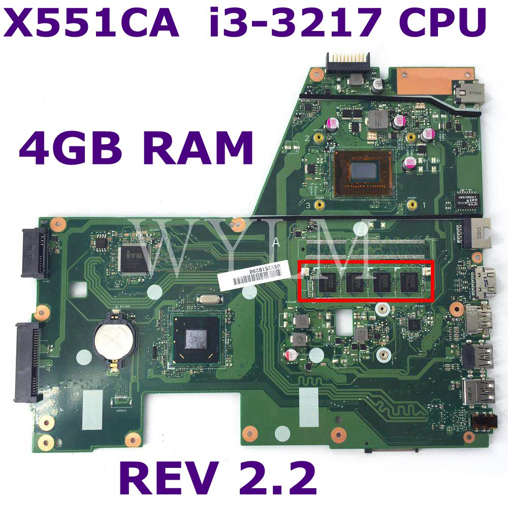 X551CA With i3-3217 CPU 4GB RAM Mainboard REV 2.2 For ASUS X551C X551CAP X551CA Laptop motherboard  100% Tested free shippingX551CA With i3-3217 CPU 4GB RAM Mainboard REV 2.2 For ASUS X551C X551CAP X551CA Laptop motherboard  100% Tested free shipping