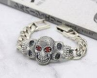 100% S925 solid sterling silver retro Thai silver mighty skull bracelet personality men's punk wind bracelet