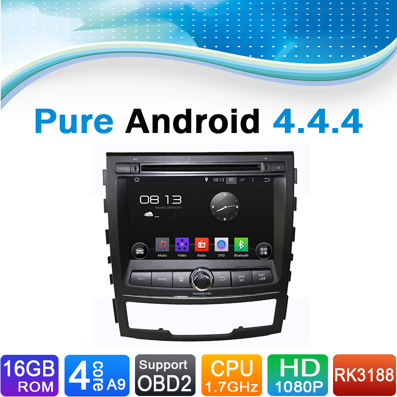 Pure Android 4.4.4 Car DVD GPS Navigation for SsangYon Korando (2010-2013) image