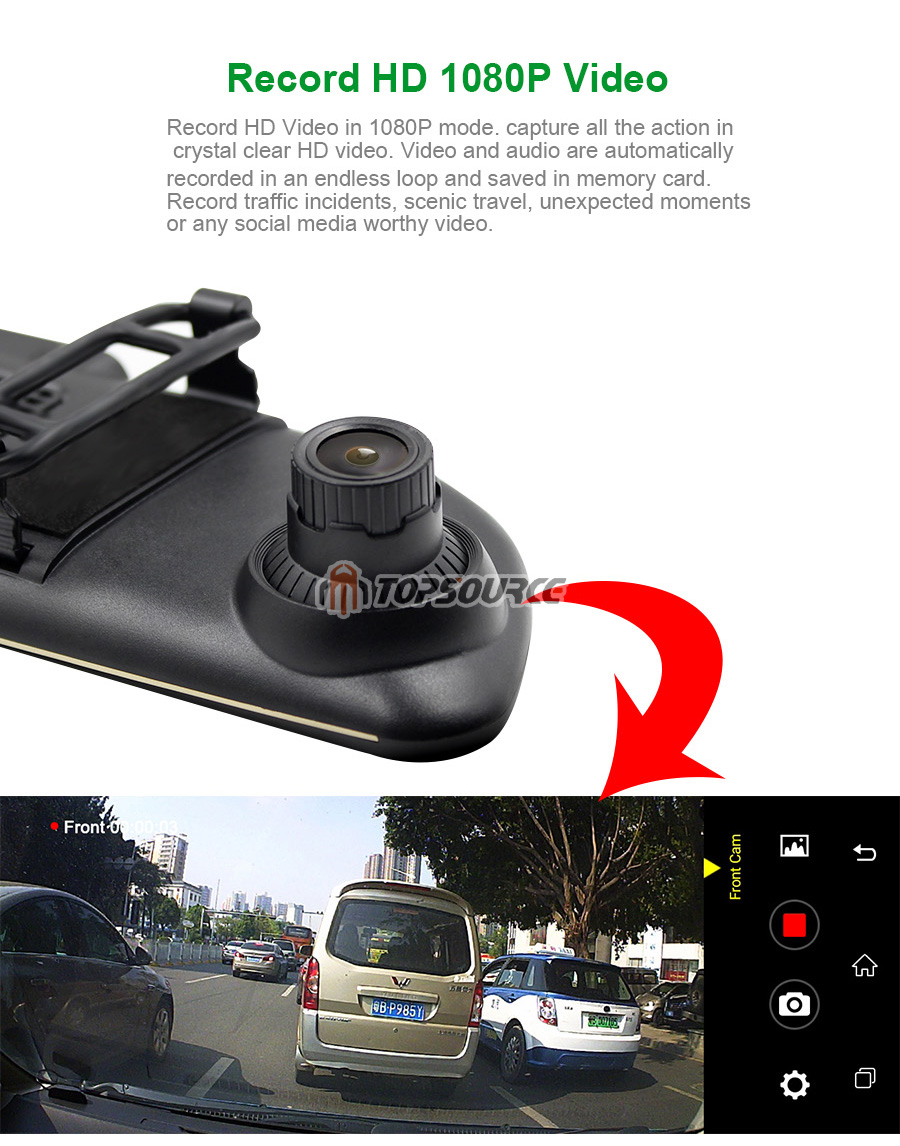 """TOPSOURCE Auto GPS ANDROID 5.0 1G/16G 3G 7"""" IPS Car DVR Mirror Camera Dual Lens 1080P Video Recorder Dash Cam Parking Monitor 7"""