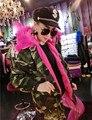 Mujeres de la Chaqueta de Camuflaje Abrigo de Piel Sintética de Gran cuello de pelo de Lana de Cordero Con Capucha Parkas de abrigo Militar Abrigo de Invierno Femenina prendas de Vestir Exteriores