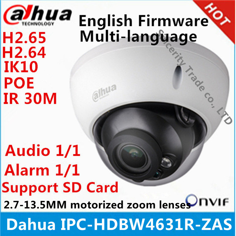 Dahua IPC HDBW4631R ZAS 2 7 13 5mm varifocal motorized lens IP67 IK10 IR50M built in