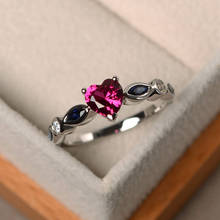 Women engagement rings new inlaid CZ sea blue heart shaped classic European and American birthstone ring jewelry