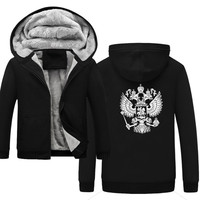 High Quality Coat of Arms of Russia winter sweatshirt raglan print jacket tracksuit Odin Vikings hoodies for men