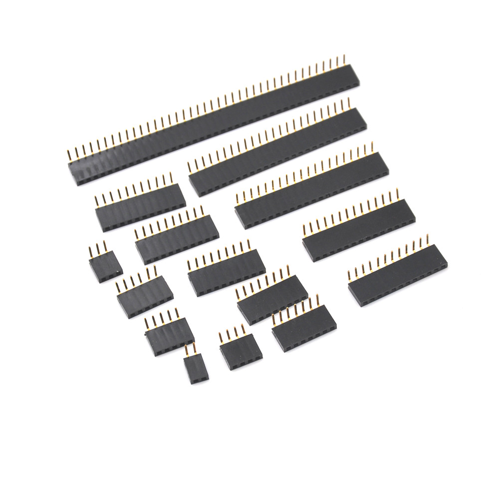 Single Row Female 2.54mm Pitch PCB Female Pin Header Connector Straight Single Row 2/3/4/5/6/7/8/9/10/20/40Pin