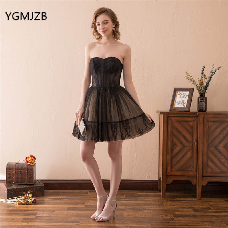 Elegant Women Cocktail Dress Black Sleeveless Knee Length