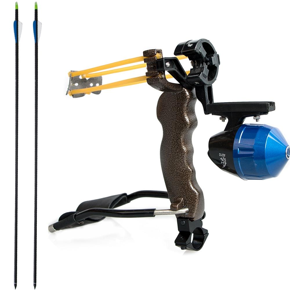 ФОТО A pro hunting bow fishing slingshot/arrow rest/fish reel and 10pcs archery 32'' mix carbon shaft longbow carbon arrow
