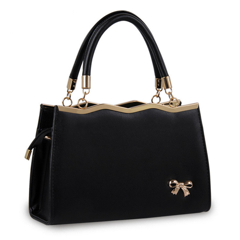 Women Bags Casual Tote Women PU Leather Luxury Handbags With Metal Bow Tie Fashi