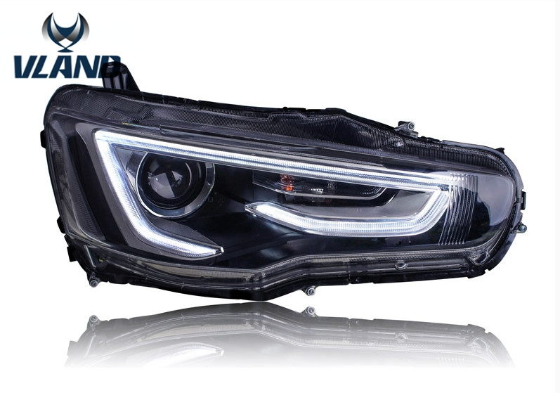 Free shipping for Mitsubishi LANCER EX LED headlight 2008-2014 HID with A5 model free shipping china vland car led tail lamp for 2008 2015 mitsubishi lancer a6l style taillight with led moving signal light