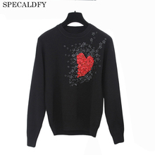 2017 Runway Brand Sweater Women High Qualiy Long Sleeve Black White Knitted Pullover Love Bead Appliques Luxury Sweaters Jumper