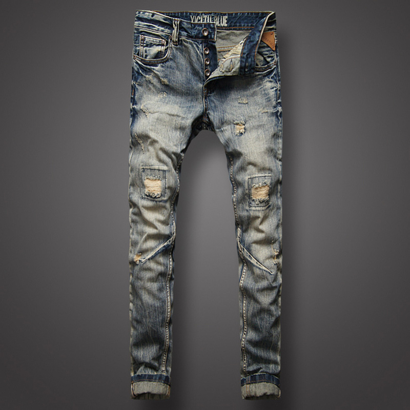 цена на Italian Retro Style Fashion Mens Jeans High Quality Slim Fit Frayed Hole Ripped Jeans For Men Brand Clothing Biker Jeans Pants