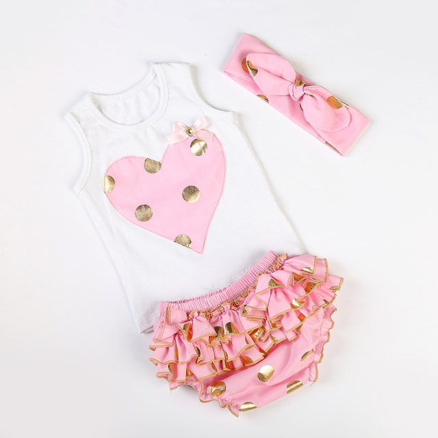 ba0af570ef1a Messy Bow Baby Girls Heart Vest with Gold Polka Dot Knotted Headband Ruffle  Bloomers Diaper Cover 3pcs/Set First Birthday Outfit