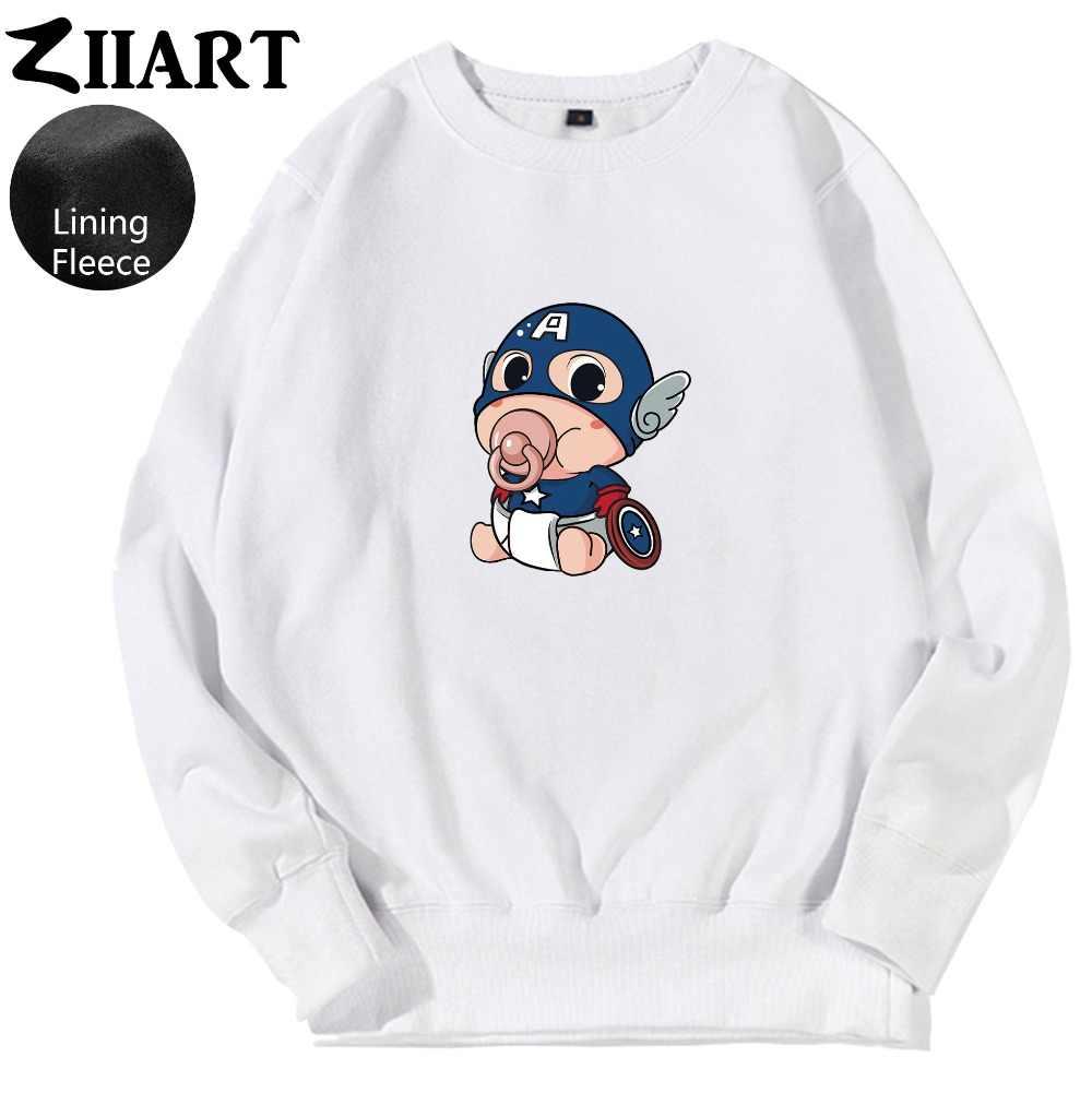 Pañales de pezón dibujos animados bebé Capitán América escudo pareja ropa mujer adolescente chica polar pulóver sudaderas ZIIART