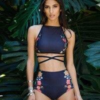 2017 Sexy Floral Ethnic Printed High Waist Swimsuit Strappy Swimwear Women High Neck Bikinis Set Halter
