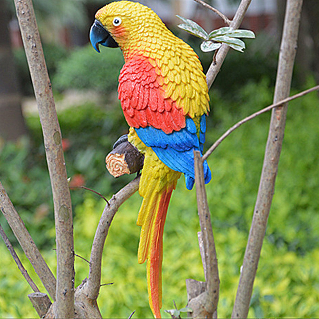 Resin Realistic Modeling Imitation Parrot Micro Landscape Gardening Supplies  Accessories Garden Outdoor Patio Decoration
