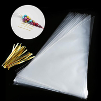 100PCS Bag Cone Plastic Bags Ties Large Party Sweet Cello Candy Supply