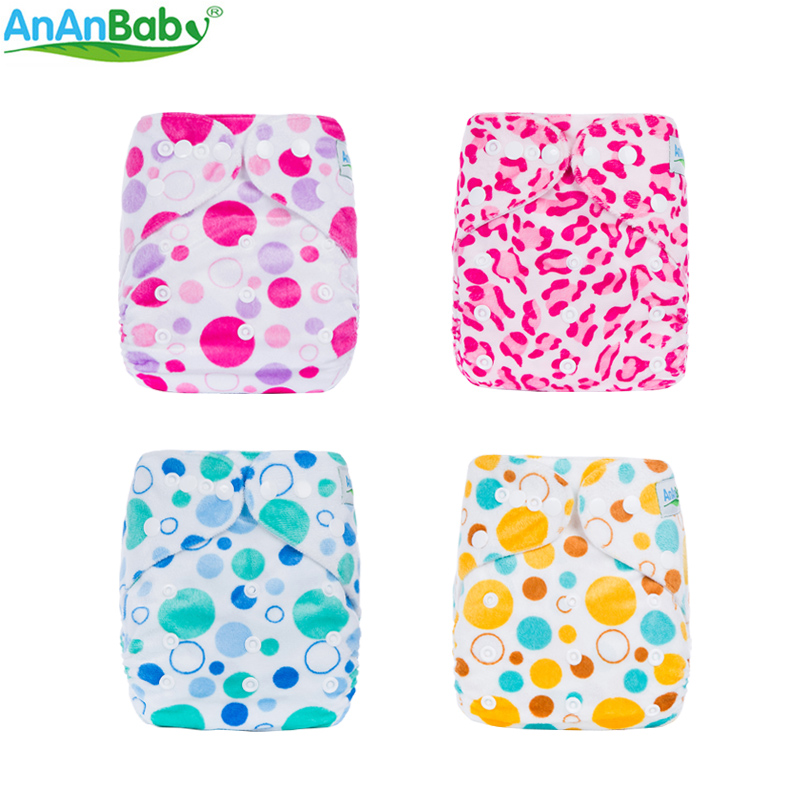 AnAnBaby Cartoon Baby Diapers Reusable & Washable Minky Baby Nappies Cute Prints Diaper Cover 6-35 + ფუნტი Baby C სერიისთვის