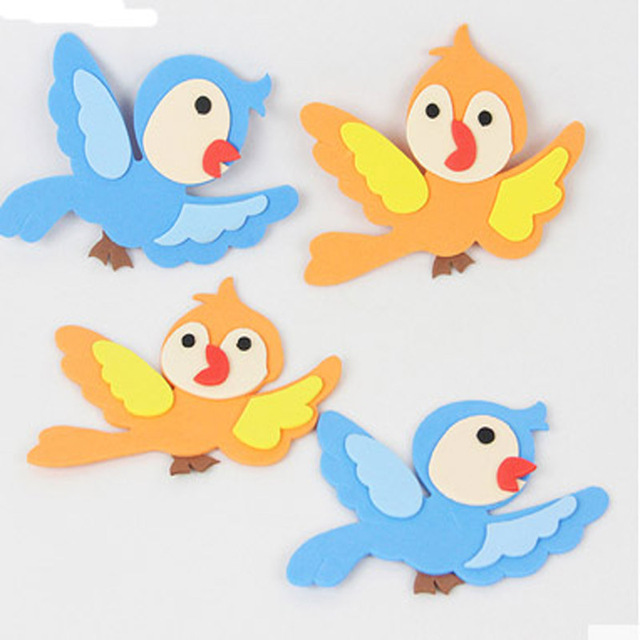 20pcs free shipping kid sticker eva foam small bird sticker wall decoration environment layout material baby
