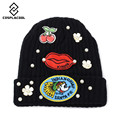 [COSPLACOOL] Women's head cap  cherry lip stick cloth knitted cap autumn and winter fashion warm wool hat