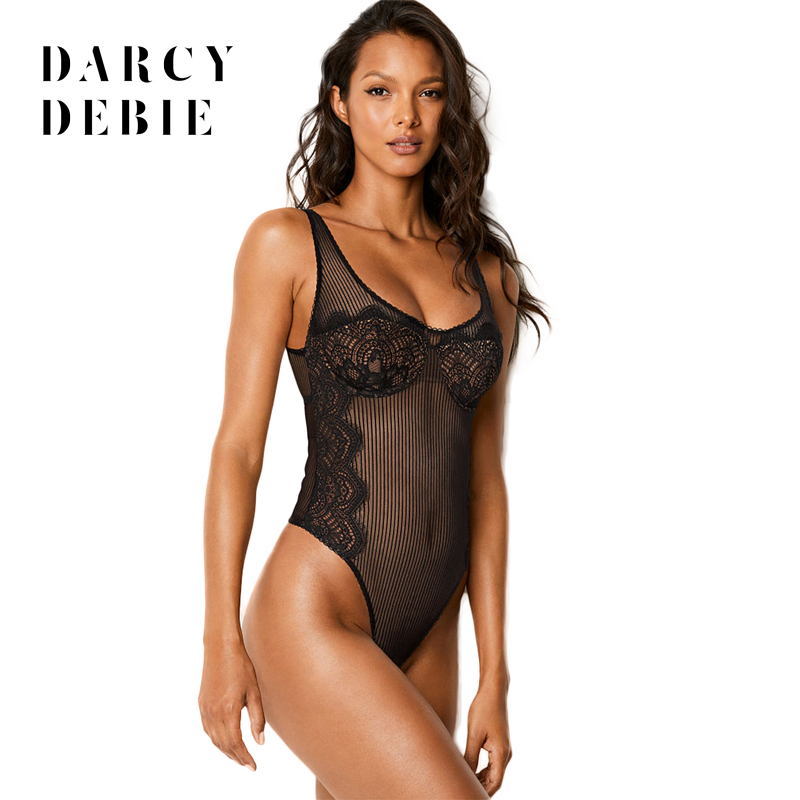 Darcydebie 2018 Summer Women Fashion Sexy Net yarn Lace Hollow out Patchwork Backless transparent Bodysuits Jumpsuits Rompers