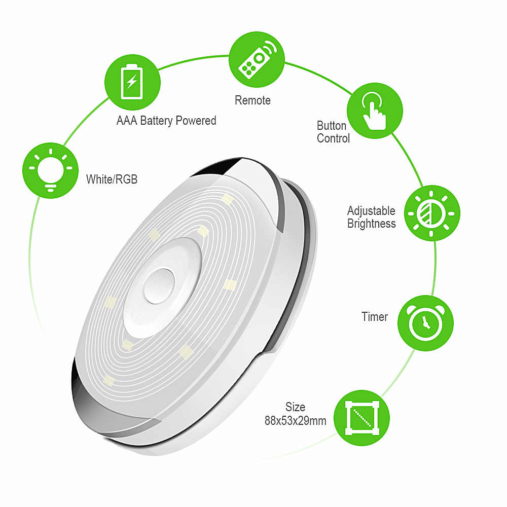 Wireless Touch Sensor LED Under Cabinet Light Kitchen LED Battery Wardrobe/Closet Puck Light with Controller Dimmable Night Lamp