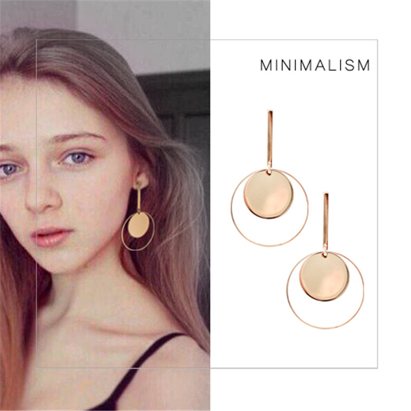 Comiya Fashion Brand Personality Gold Color Round Drop Earrings For Women Boucles doreilles Pour Les Femmes Long Earring CC