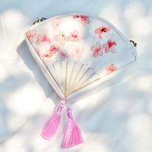 Angelatracy 2019  New Arrival Fan Shape Pink Tassel PU HanFu Vintage Floral Flower Peach blossom All Match Girl Messenger Bag