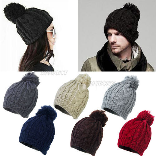10x 2016 Fashion New Unisex Women Winter Warm Ski Slouch Cable Knit Knitted Bobble Hat Beanie Cap  for Xmas hot winter beanie knit crochet ski hat plicate baggy oversized slouch unisex cap